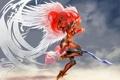 Картинка фантастика, небо, валькирия, меч, красные волосы, доспехи, крылья
