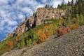 Картинка облака, осень, деревья, горы, склон, небо, скала