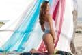 Картинка пляж, попа, девушка, улыбка, платье, Amanda C