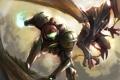 Картинка монстр, броня, битва, Metroid, Samus, Ridley, шлем