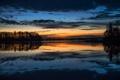 Картинка небо, облака, деревья, огни, озеро, вечер, зарево