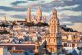 Картинка облака, Франция, Париж, дома, башни, храм, дворец