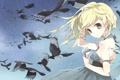 Картинка девушка, звезды, птицы, ветер, платье, письма