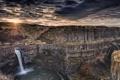 Картинка закат, скалы, каньон, Washington, Palouse Falls, водопад Палус