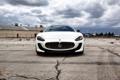Картинка белый, асфальт, Maserati, white, GranTurismo, мазерати, передок