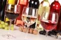 Картинка вино, красное, белое, бокалы, розовое, виноград, бутылки
