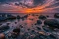 Картинка пейзаж, рассвет, море, камни