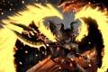 Картинка девушка, оружие, огонь, крылья, символы, арт, рога