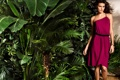 Картинка зелень, листья, деревья, пальмы, модель, платье, брюнетка