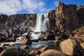 Картинка небо, облака, скала, камни, обрыв, водопад, поток