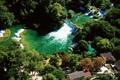 Картинка река, дома, водопады, Хорватия, Крк