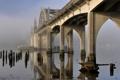 Картинка мост, туман, река, опора