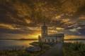 Картинка небо, солнце, облака, закат, озеро, лодка, рыбак