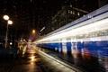 Картинка фонари, ночь, скамейки, выдержка, город, дорога, Цюрих