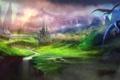 Картинка горы, птицы, мост, река, замок, обрыв, рисунок