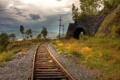 Картинка небо, пейзаж, железная дорога