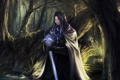 Картинка лес, вода, озеро, меч, мужчина, art, Berserker