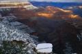 Картинка зима, снег, закат, природа, каньон, плато