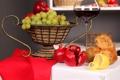 Картинка отражение, стол, вино, красное, лимон, бокал, хлеб