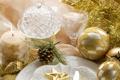 Картинка стекло, стол, золото, праздник, шары, звезда, свеча