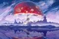 Картинка озеро, отражение, скалы, узоры, гриб, мухомор, арт