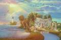 Картинка море, цветы, дом, река, маяк, арт, арка