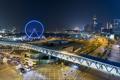 Картинка ночь, огни, Гонконг, центр