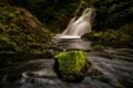 Картинка река, камень, водопад, мох, поток
