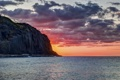 Картинка закат, пейзаж, гора, море