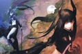 Картинка девушки, рога, huke, длинные волосы, меч, красные глаза, art