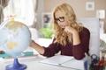 Картинка blond, glasses, studying, Globe