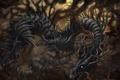 Картинка деревья, корни, ветви, дракон, арт, пасть, кривые