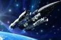 Картинка космос, рендеринг, фантастика, звездолёт