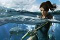 Картинка девушка, оружие, океан, акула, lara croft, Tomb Raider: Underworld