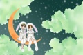 Картинка звезды, облака, девочки, месяц, аниме, арт, Gakuen Alice