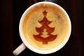 Картинка пена, узор, елка, кофе, чашка, ёлка, ёлочка