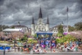 Картинка праздник, сцена, лошади, собор, кареты, New Orleans, Новый Орлеан