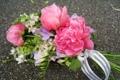 Картинка цветы, букет, пионы, розовый цвет, фрезии