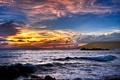 Картинка море, волны, небо, вода, закат, тучи, океан