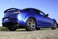 Картинка синий, фон, Мазда, Mazda, вид сзади, RX-8