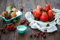 Картинка ягоды, яйца, тарелка, фрукты, лоток, груши, вишни