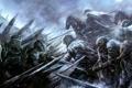 Картинка оружие, доспехи, Воины, всадники, схватка