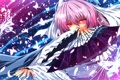 Картинка взгляд, девушка, магия, злость, touhou, art, saigyouji yuyuko