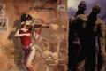 Картинка девушка, скрипка, хвост, рога
