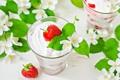 Картинка десерт, жасмин, клубника, йогурт