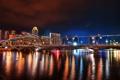Картинка мост, city, дома, Сингапур, отель, ночной, night