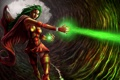 Картинка магия, Девушка, костюм, пещера, плащ, зеленый луч смерти