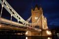 Картинка река, фонари, Tower Bridge, ночь, вода, Великобритания, Темза