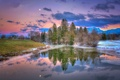 Картинка небо, облака, деревья, закат, горы, озеро, отражение
