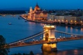 Картинка город, Будапешт, Парламент, Венгрия, мосты, вечер